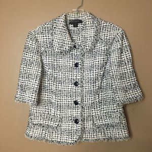 St. John Tweed Jacket Short Sleeve Navy White 12
